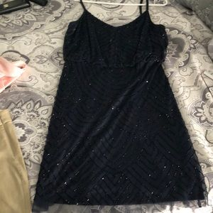 Spahgetti Strapped Navy Beaded Dress